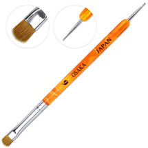 Osaka French Gel Nail Brush and Dotting Tool with Orange Marble Acrylic Handle