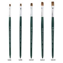 Fuji Kolinsky Sable (Short, Flat Shaped) Brush with Green Wooden Handle
