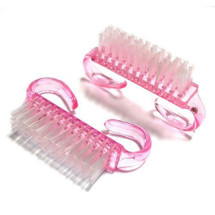 Clear Pink Plastic Manicure Brush