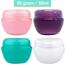 50G/50ML Oval Frosted Plastic Cosmetic Jars - Colors: (Pink, Purple, Teal, White)