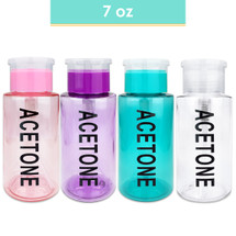 7 Oz AcetoneLabeled Plastic Pump Dispenser Bottle - Colors: (Pink, Purple, Teal, Clear)
