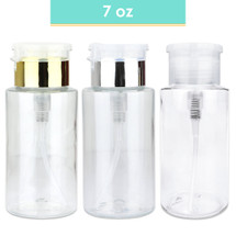 7 Oz Plastic Pump Dispenser Bottle - Colors: Clear, Gold, Silver