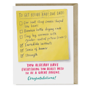 Due Date Checklist Baby Card