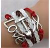 LOVE  Red & White  Infinity Bracelet