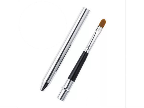 Lip | Makeup Brush -Travel Silver & Black
