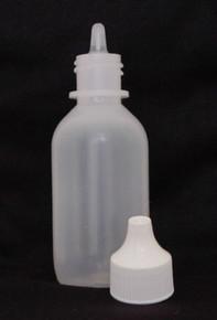 2 oz. Plastic Bottle Natural Cylinder with Nipple/Cap