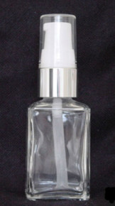 1 oz. Clear Glass Bottle with White Pump