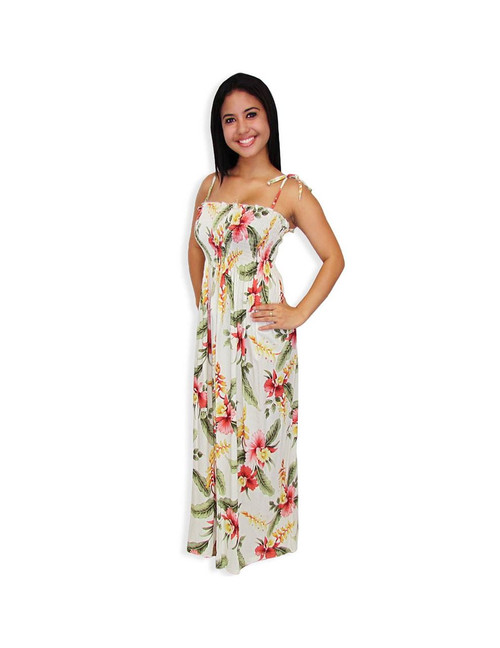 Long Tube Top Rayon Smock Dresses Orchid Pu'a 100% Rayon Fabric Color: Beige Length: 47-48 Inches From Bust line Size: One Size fits most Made in Hawaii - USA