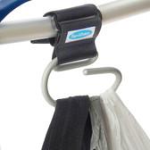 Jumbo Swirly Hook for Strollers/Walkers, Silver/Black