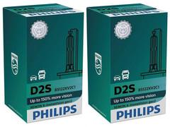 Set of Philips X-treme Vision +150% HID Xenon headlight bulbs 85122XV2C1 D2S