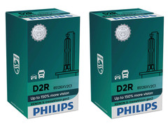 Set of Philips X-treme Vision +150% HID Xenon headlight bulbs 85126XV2C1 D2R