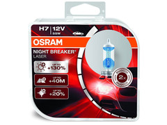 Dual package of Osram Night Breaker Laser +130% halogen bulbs 64210NBL-HCB H7