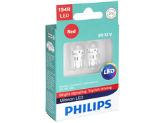 Dual package of Philips Ultinon LED Red Interior/Exterior bulbs 194RULRX2 194