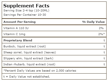 essiac-herbal-extract-nutrition facts-nutrifarm