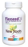 New Roots Flaxseed Oil (Certified Organic) 1000 mg, 180 Softgels | NutriFarm.ca