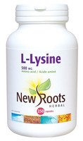 New Roots L-Lysine 500 mg, 250 Capsules | NutriFarm.ca