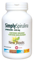 New Roots Simply Spirulina Certified Organic 650 mg, 90 Capsules   NutriFarm.ca