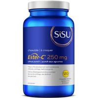 SISU Kids' Ester-C 250 mg Chewable (natural citrus punch flavour), 120 Chewable Tablets   NutriFarm.ca