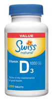 Swiss Natural Vitamin D3 1000 I.U., 200 Tablets | NutriFarm.ca