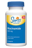 Swiss Natural Niacinamide 500 mg, 90 tablets | NutriFarm.ca