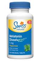 Swiss Natural Melatonin Dissolvezzz 5mg Peppermint, 120 Sublingual Tablets | NutriFarm.ca