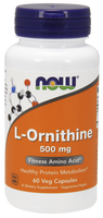 NOW L-Ornithine 500 mg, 60 Vegetable Capsules | NutriFarm.ca
