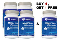 CanPrev Magnesium BisGlycinate 200 Gentle, Buy 4, Get 1 FREE !!120 Free VCaps | NutriFarm.ca