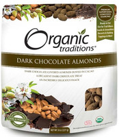 Organic Traditions Dark Chocolate Almonds, 227 g | NutriFarm.ca