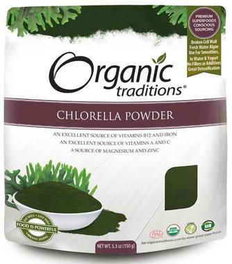 Organic Traditions Chlorella Powder, 150 g | NutriFarm.ca