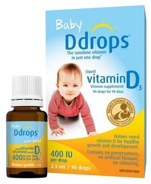 Baby Ddrops 400 IU, 90 drops/2.5 mL | NutriFarm.ca