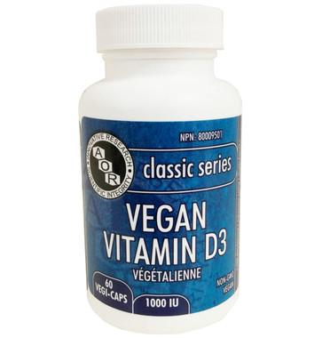 AOR Vitamin D3 Vegan, 60 Vegetable Capsules | NutriFarm.ca