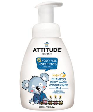 Attitude Little Ones 3-in-1 Foaming Wash Night Almond Milk, 300 ml | NutriFarm.ca