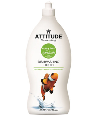 Attitude Dishwashing Liquid Green Apple and Basil, 700 ml | NutriFarm.ca