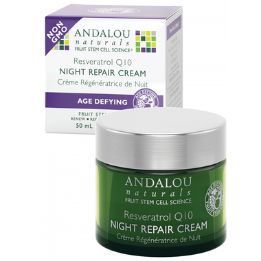 Andalou Naturals Resveratrol Q10 Night Repair Cream, 50 ml | NutriFarm.ca