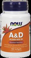 NOW Vitamin A & D 10,000 IU/400 IU, 100 Softgels | NutriFarm.ca