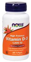 NOW Vitamin D-3, 1000 IU, 360 Softgels | NutriFarm.ca