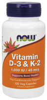 Vitamin D3 and K2, 120 Vegetable Capsules | NutriFarm.ca