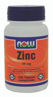 NOW Zinc 50 mg, 100 Tablets | NutriFarm.ca