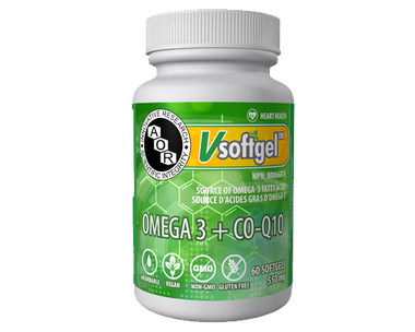 AOR Omega 3 and CoQ10, 60 Softgels | NutriFarm.ca