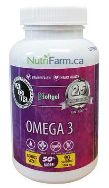 AOR Omega 3 1000 mg, 60 + 30 FREE Softgels | NutriFarm.ca