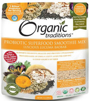 Organic Traditions Probiotic Smoothie Mix Luscious Lucuma Baobab, 200 g | NutriFarm.ca