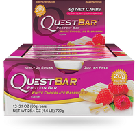 Quest Bar White Chocolate Raspberry, Box of 12 (60 g/bar) | NutriFarm.ca