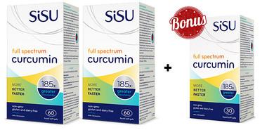 SISU Full Spectrum Curcumin, 2 x 60 Softgels + 30 FREE Softgels   NutriFarm.ca