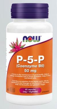 NOW P-5-P (Coenzyme B6) 50 mg, 60 Veg Capsules | NutriFarm.ca