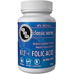 AOR B12 + Folic Acid, 60 Vegetable Capsules | NutriFarm.ca