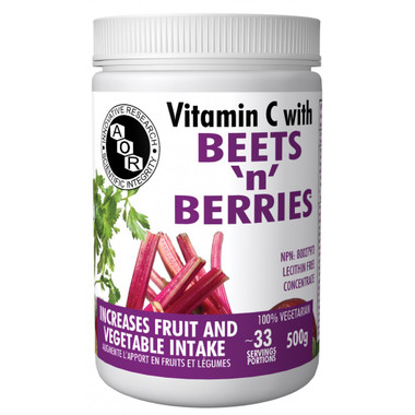 AOR Vitamin C with Beets 'n' Berries, 500 g Powder | NutriFarm.ca