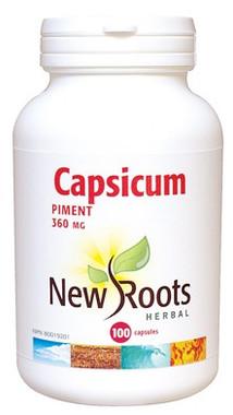 New Roots Capsicum 360 mg, 100 Capsules | NutriFarm.ca