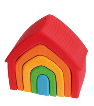 Wooden House Multi Coloured 5pcs