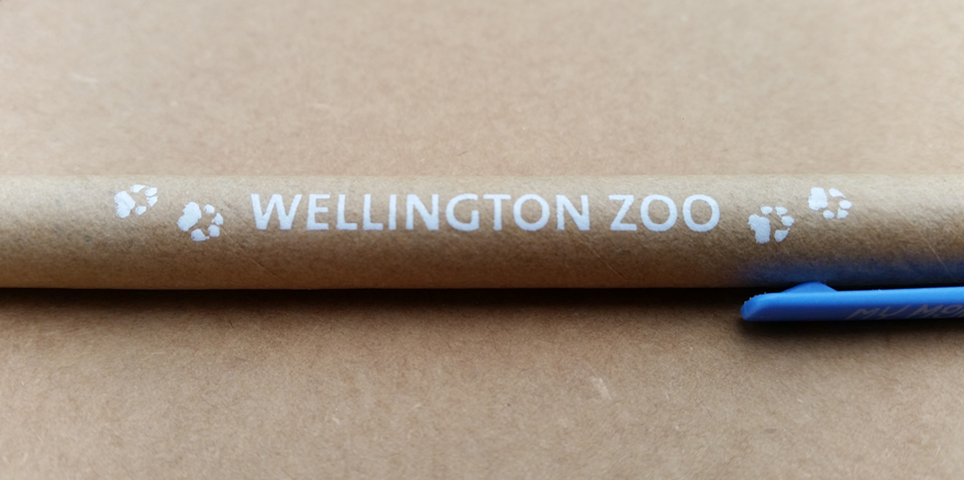 Wellington Zoo printed logo on My Mojo Bio Pen