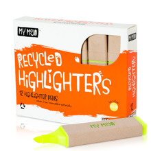 Box of 12 Yellow Recycled Highlighters